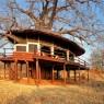 Las terrazas de las habitaciones del Tarangire Treetops